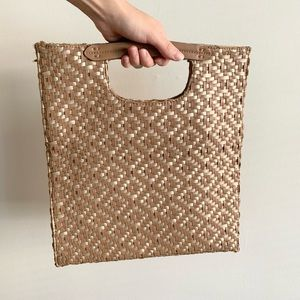 Anthropologie Tan/ Gold Faux Leather Woven Bag